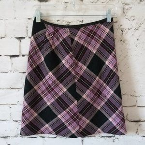 LOFT Ann Taylor Plaid A-line Skirt Wool Blend 0